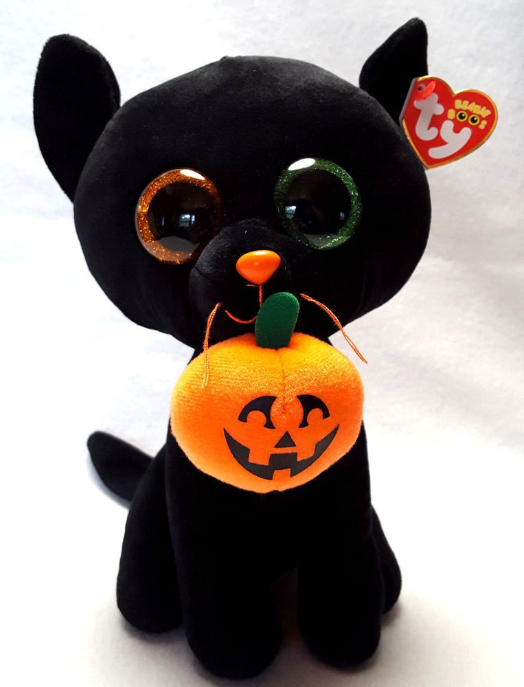 Beanie Boos Halloween Plush Shadow Black Cat Pumpkin Sparkle Eyes Medium 9
