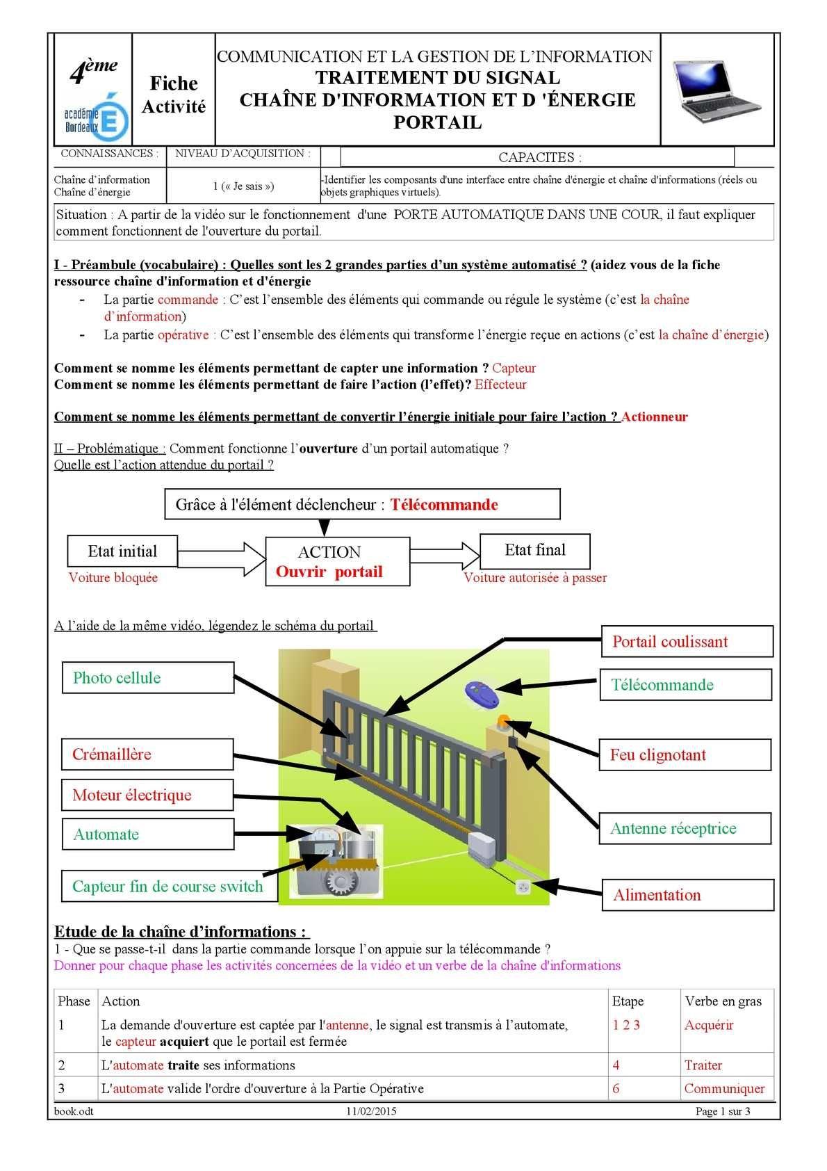 4ème Fiche Activité COMMUNICATION ET LA GESTION DE L'INFORMATION TRAITEMENT DU SIGNAL CHAÎNE D'INFORMATION ET D 'ÉNERGIE PORTAIL CONNAISSANCES : NIVEAU D'ACQUISITION : CAPACITES : Chaîne d'information Chaîne d'énergie 1...