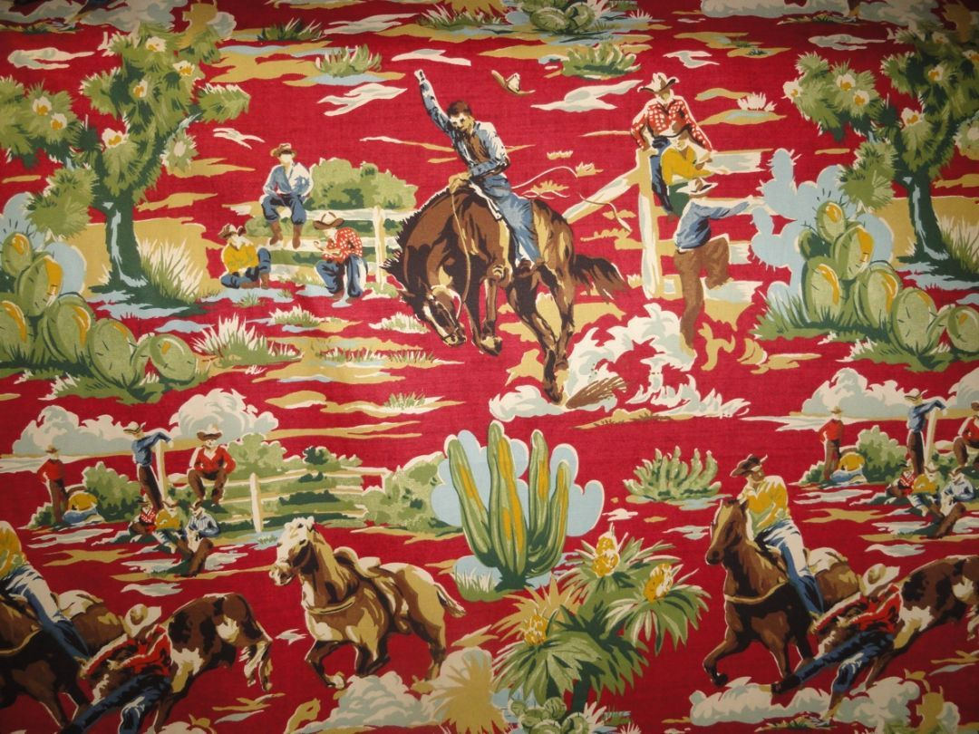 Western Ride Em Cowboy Chili Upholstery Fabric Buy It Here At Http