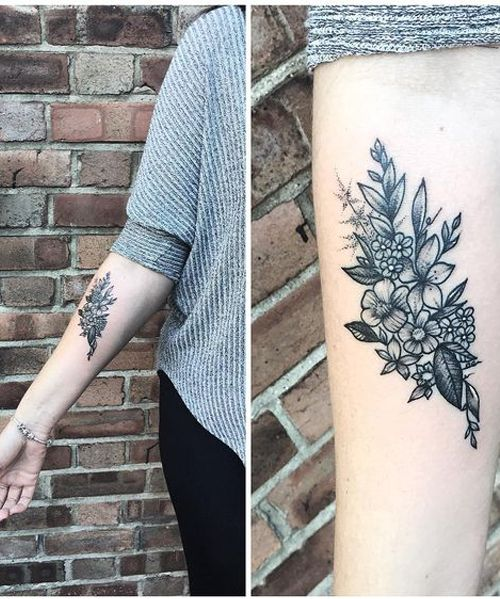 Amazing Flower Tattoos On Arm For Girls Cool Forearm Tattoos Tattoos Bouquet Tattoo