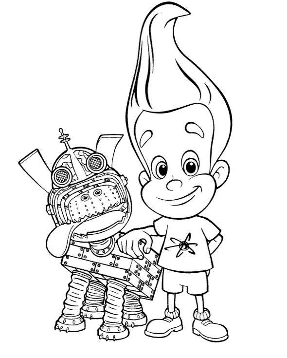 Jimmy Neutron With Dog Cartoon Coloring Pages With Images