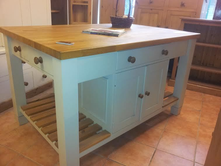 Kitchen Island Unit Free Standing Solid Pine With 5ft Oak Top