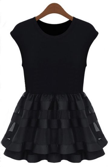 Black Cap Sleeve Contrast Organza Ruffle Dress pictures
