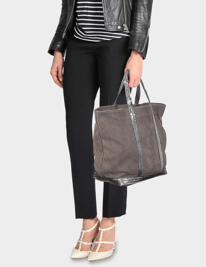 Washed Leather and Sequins Medium + Tote Bag in Acier Cowhide Vanessa Bruno zdkLc0DF
