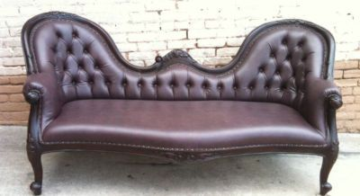 French Antique Chaise Lounge Sofa Loveseat Vintage Glam
