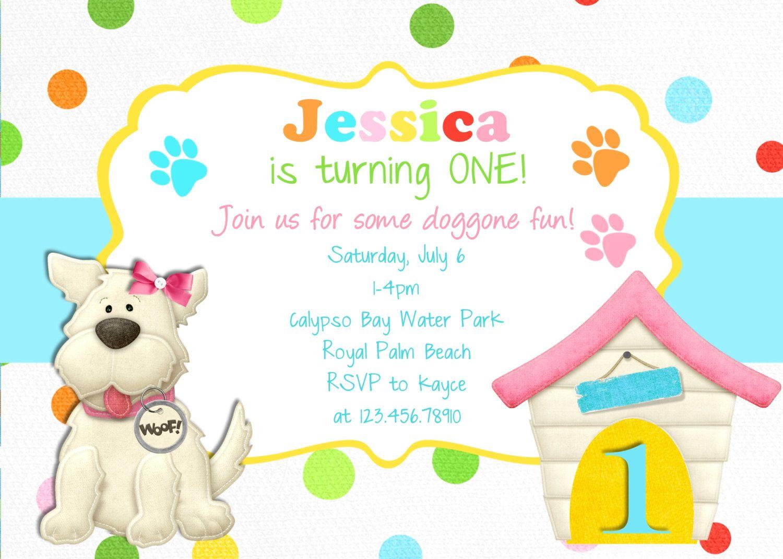 Puppy Birthday Invitation - Dog Party Puppy Printable Invitation ...