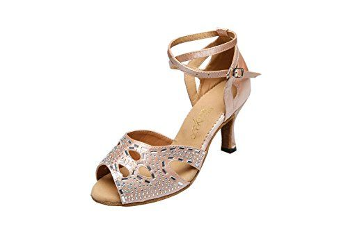 Danzcue Womens T-Strap Rhinestone Salsa Tango Ballroom Latin Dance Shoes