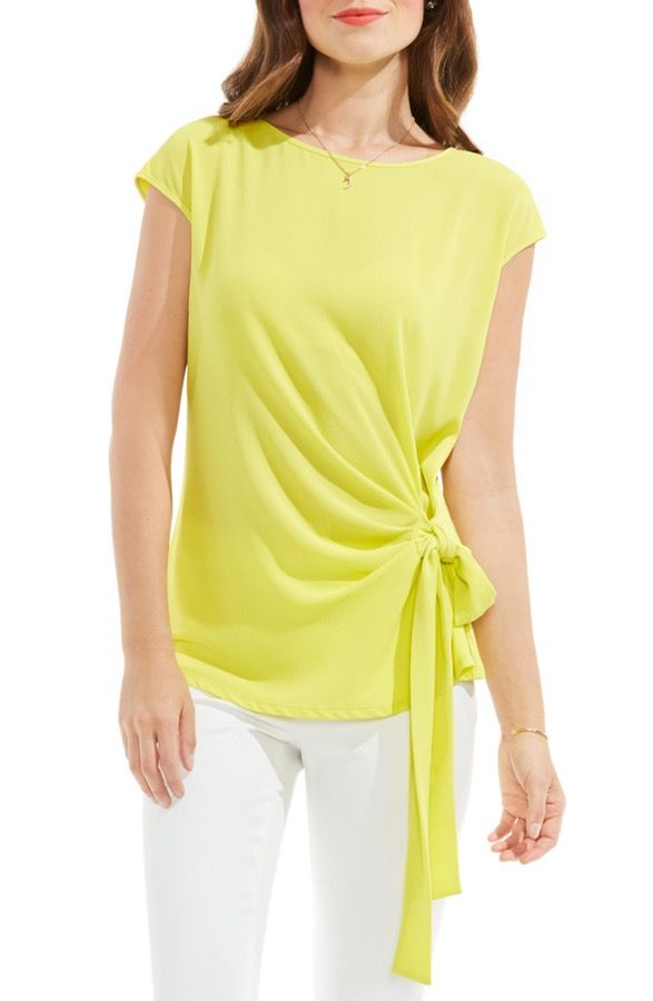 dbfb66507ef4 Nordstrom - Main Image - Vince Camuto Mixed Media Tie Front Blouse ...