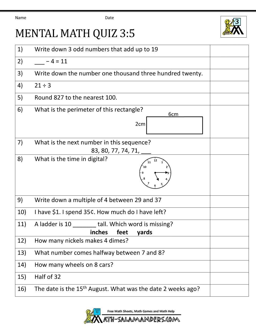 10 Printable Math Quiz Di 2020