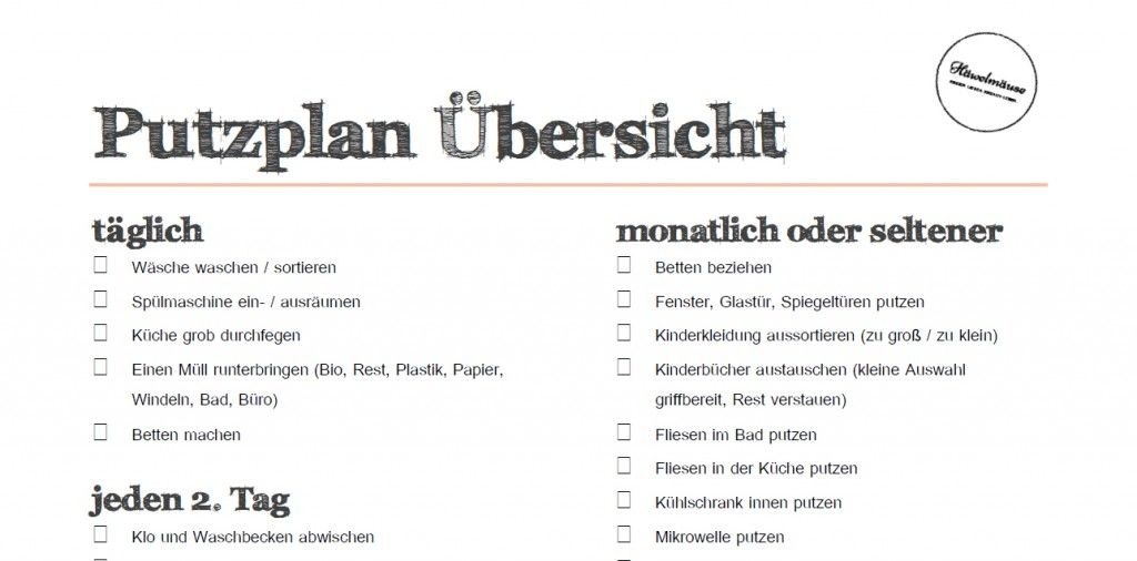 Putzplan haushaltsplan download filofax pinterest for Minimalismus liste