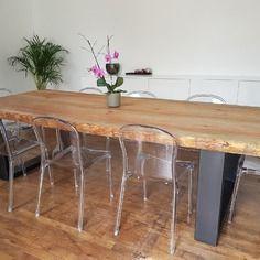 meuble industriel table de salle à manger en pin massif 8 cm