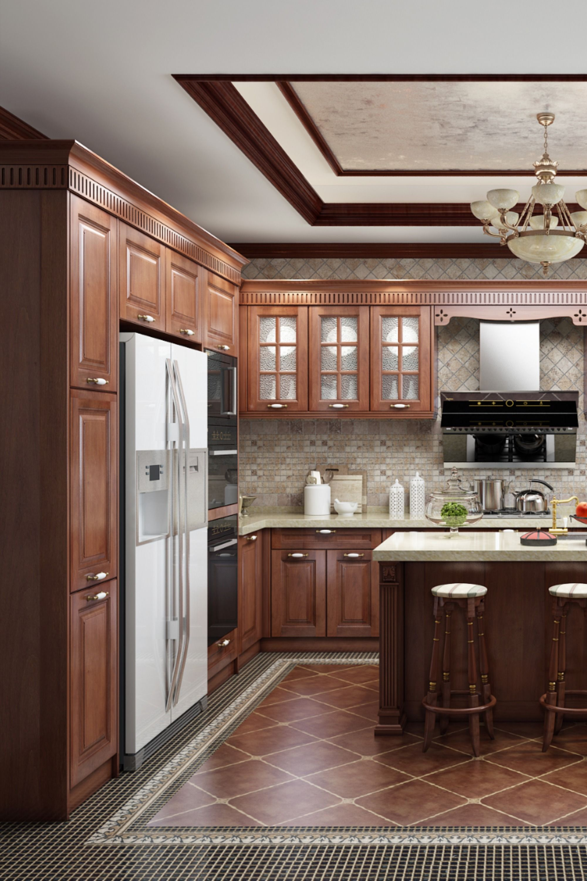 Classic Solid Wood Kitchen Cabinet In 2020 Solid Wood Kitchen Cabinets Kitchen Cabinets Kitchen