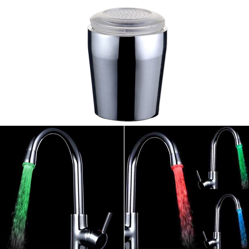 Kitchen Sink 3Color Change Water Glow Water Stream Shower LED Faucet ...