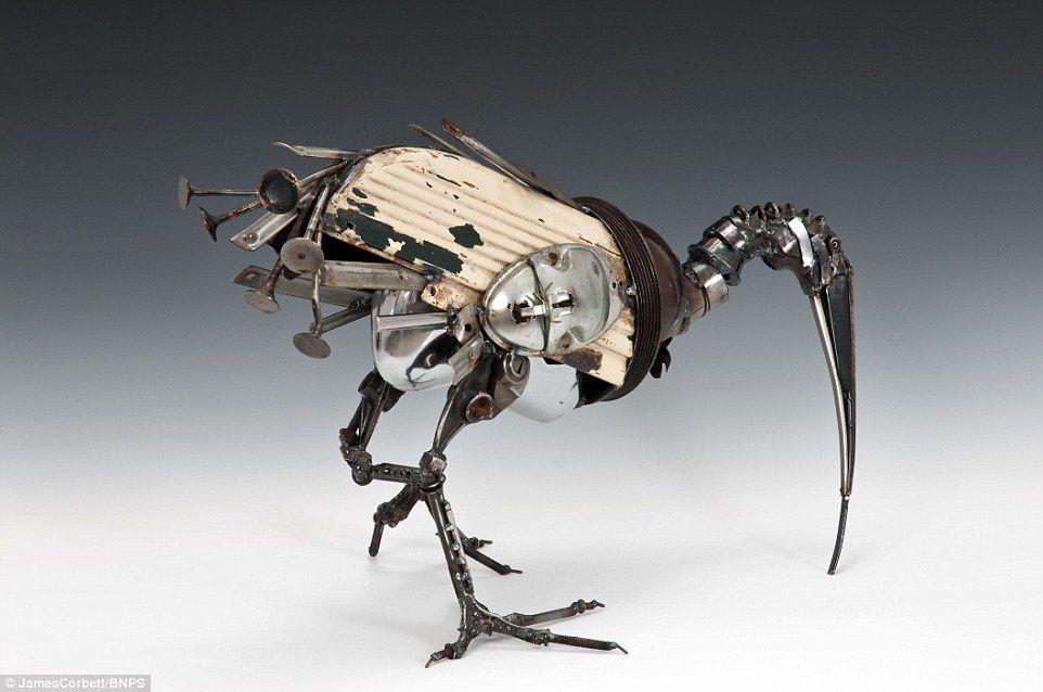 Artist takes car parts destined for the scrap yard and transforms ...