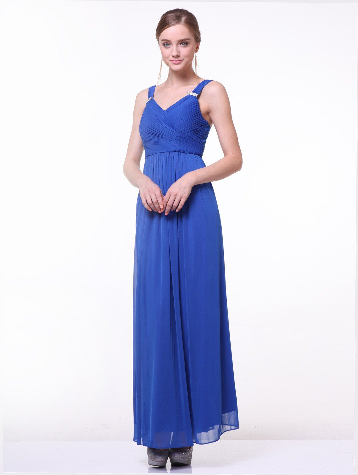 Long vneck dress with ruched bodice by cinderella divine