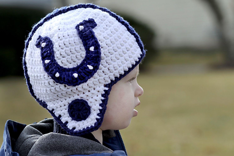 1b409328a42 Put a mohawk on it i d love it even more!!! ..... Indianapolis Colts Helmet  Hat Toddler Child by SchlisKnits on Etsy