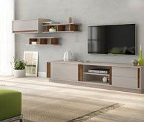 Ensemble meuble TV moderne gris laqué mate et couleur bois LATI