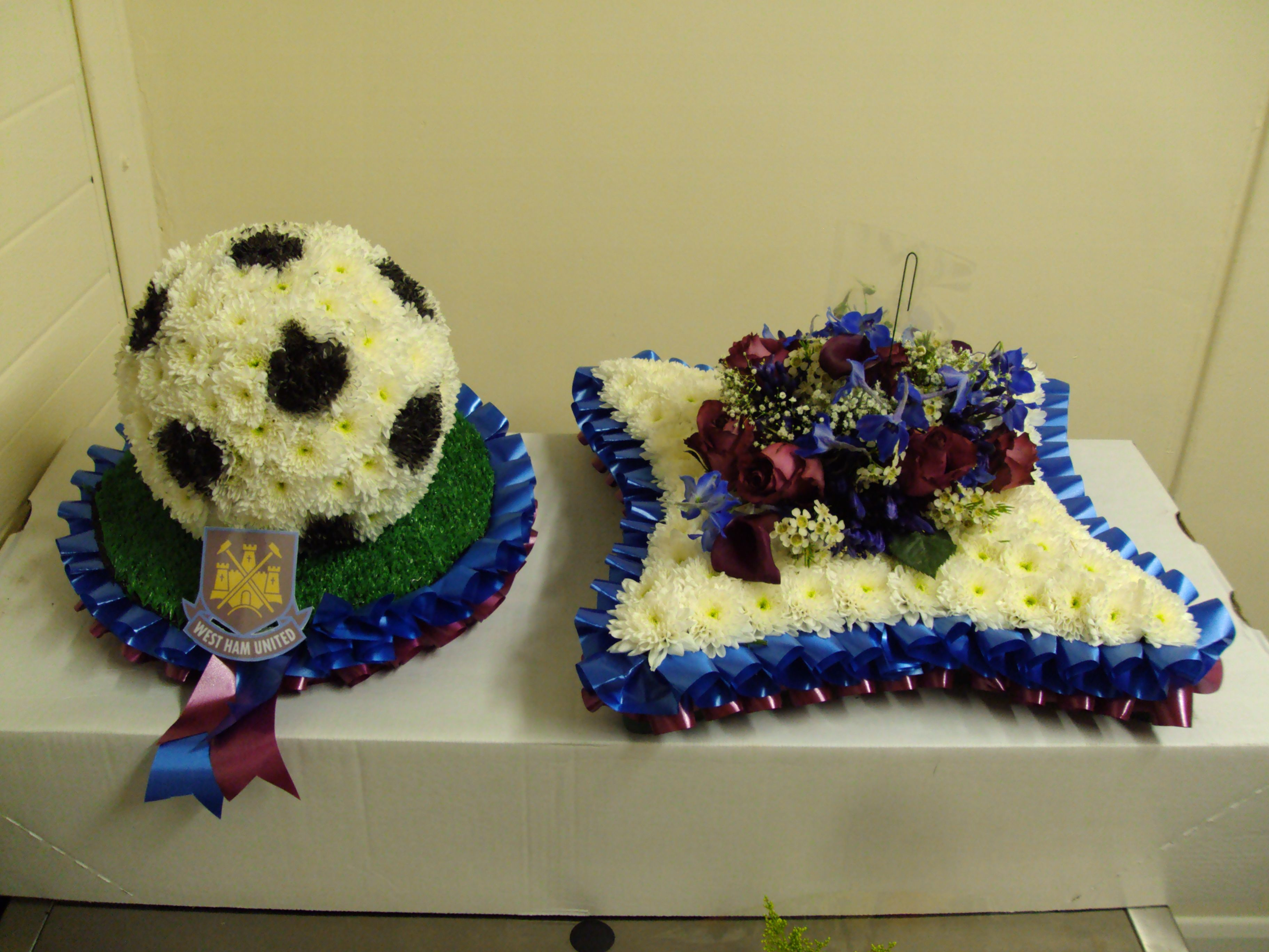 Football and cushion in west ham colours funeral flowers football and cushion in west ham colours izmirmasajfo Images