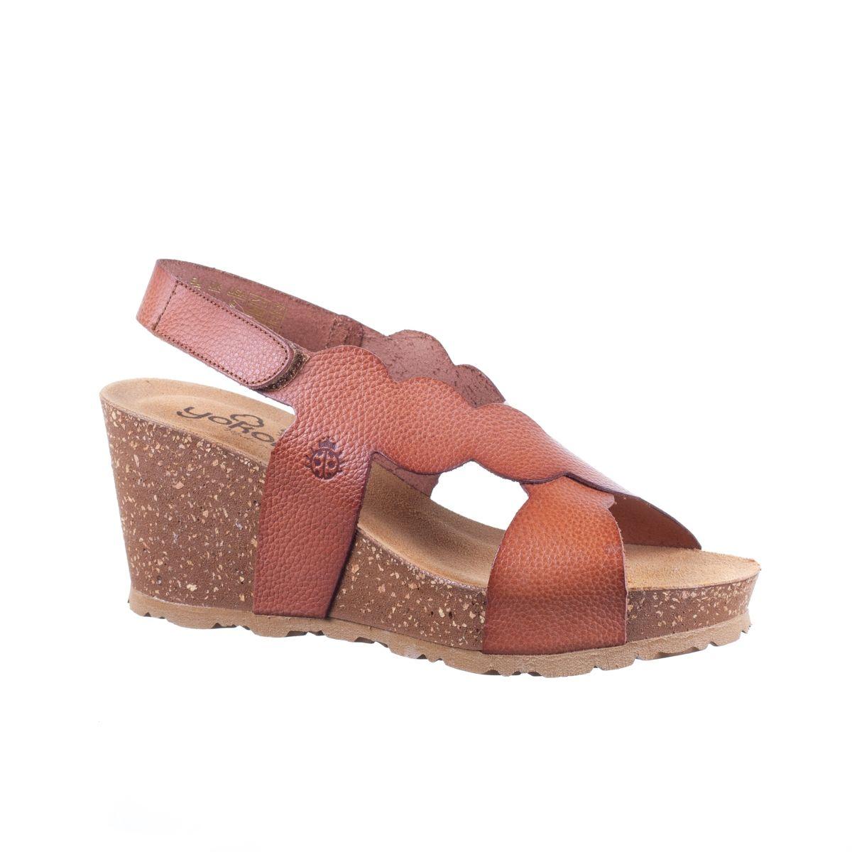 Sandale compensée Canela 004 Bugui Nuez de Yokono en cuir