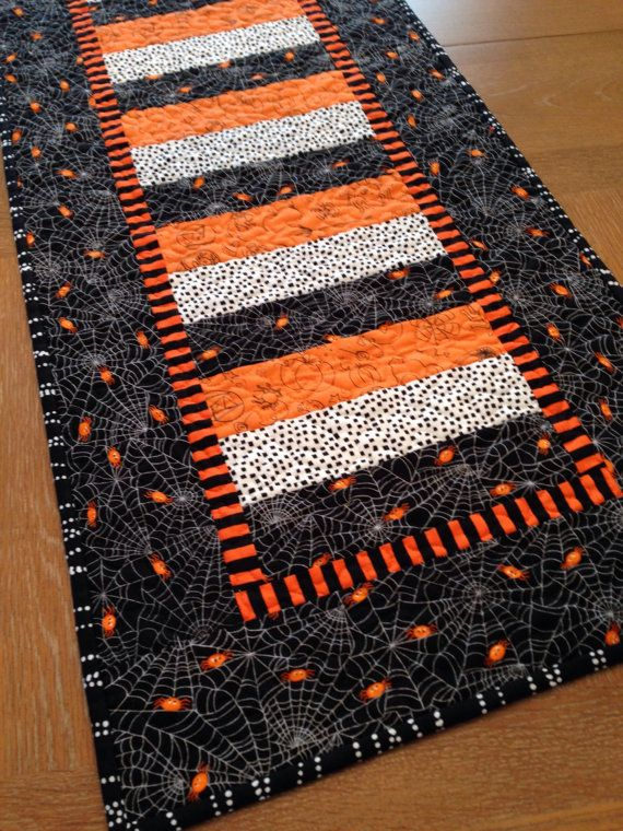 Halloween Reversible Quilted Table Runner Topper Table