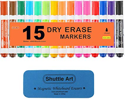 Amazon Com Dry Erase Markers With Eraser 15 Colors Shuttle Art White Board Markers And Eraser Low Odor Chisel Tip Usabl Dry Erase Markers Dry Erase Eraser