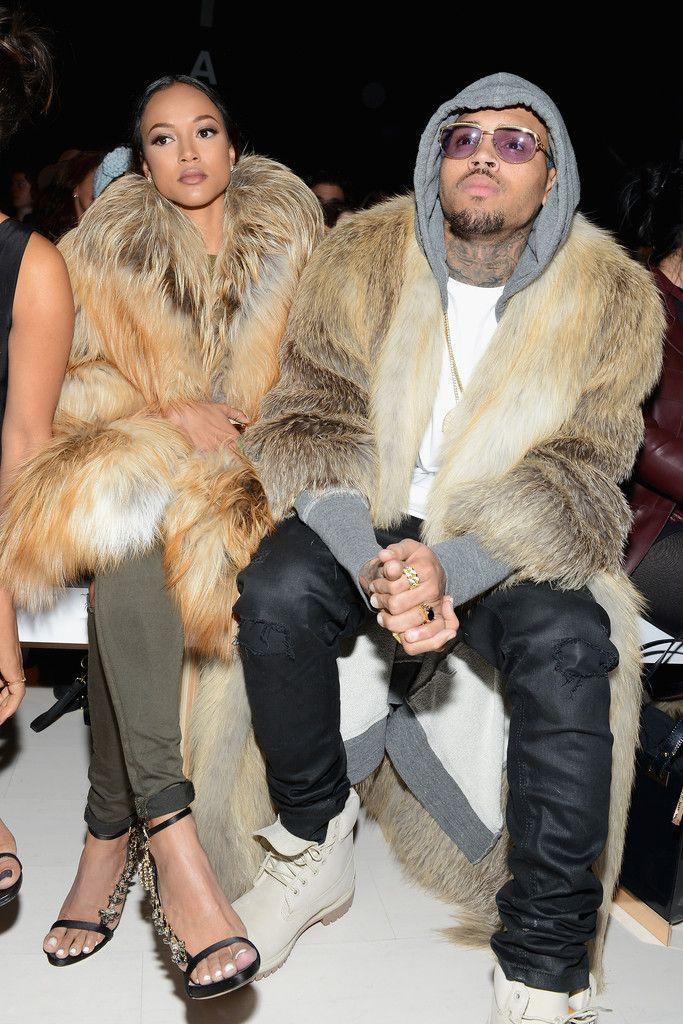 Chris Brown & Karrueche Tran Make a Fur Statement Front Row at Fashion Week