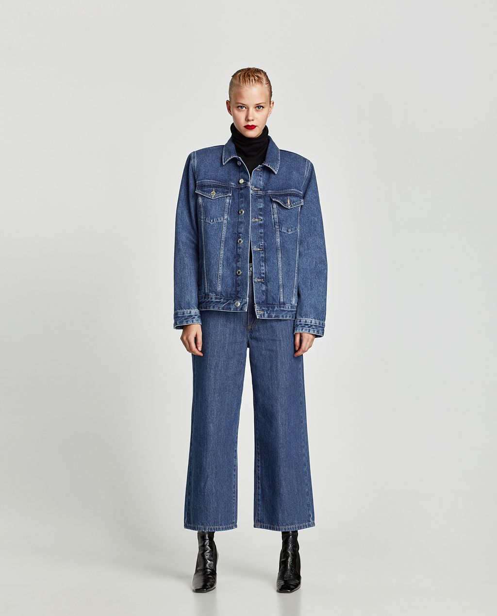 ec738691 Image 1 of DENIM JACKET WITH SHOULDER PADS from Zara | Styles ...