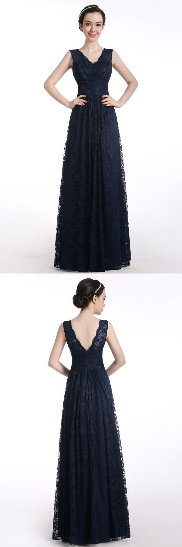 Aline vneck floorlength sleeveless lace navy blue long pron dress