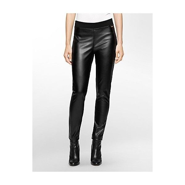 6c1a388acdb2a Calvin Klein Women's Faux Leather Compression Leggings (3.800 RUB) ❤ liked  on Polyvore featuring pants, leggings, fake leather leggings, faux leather  pants ...