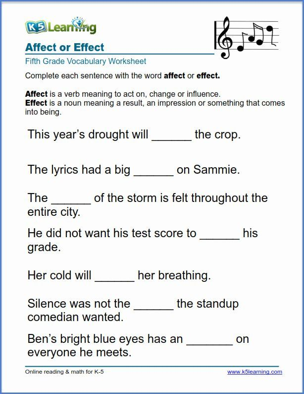 Affect Vs Effect Worksheet Fresh Grade 5 English ...