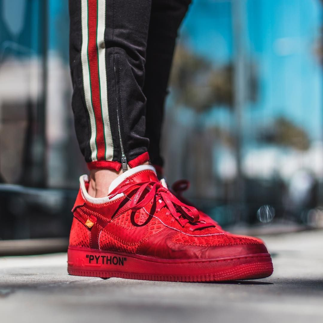 "3484d559 Blood Red ""Off White"" inspired Air Force 1 low. Featuring Red sueded python  upper, @eccoleather red…"""