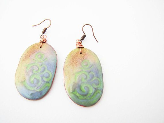 Colorful Om mantra dangle earrings. Polymer clay earrings by Nuann