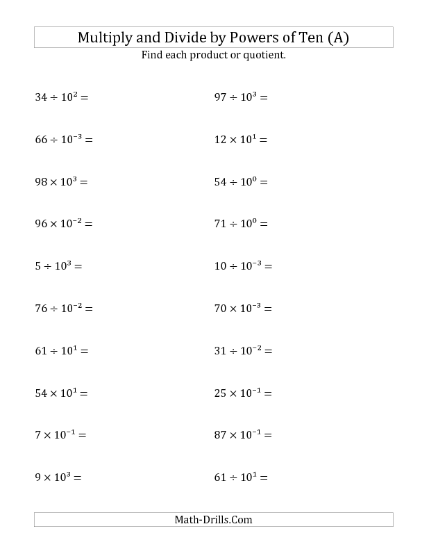 New Today, this worksheet and 1187 others** Powers of Ten Worksheet ...