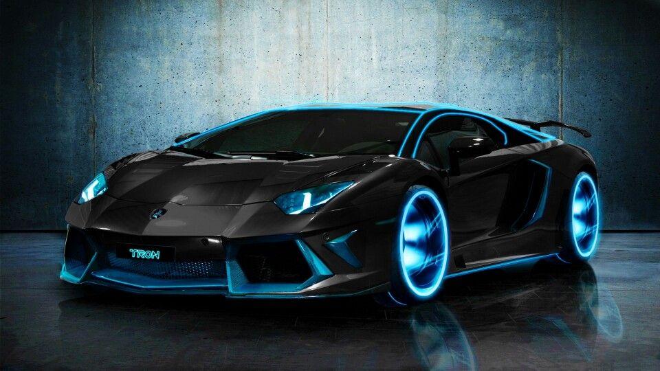 Lamborghini Aventador in black with blue headlights, blue