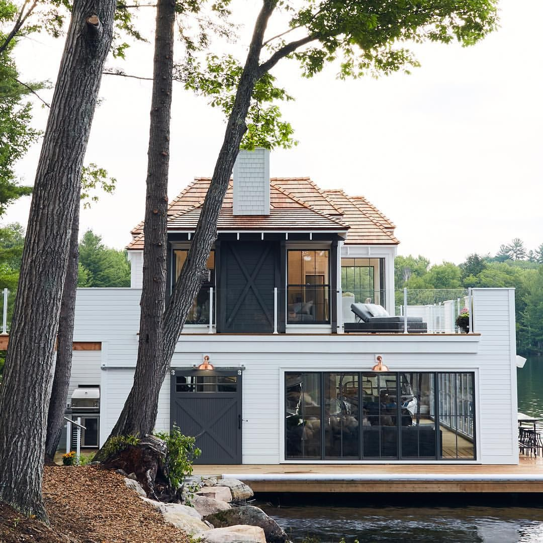 Doesn T Get Much Better Than This Boathouse We Designed On Southern Lake Rosseau Lake Houses Exterior Modern Lake House House Designs Exterior