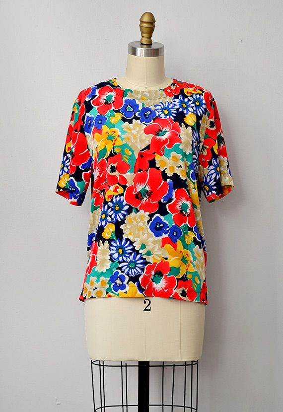 vintage 1980s bright floral boxy top