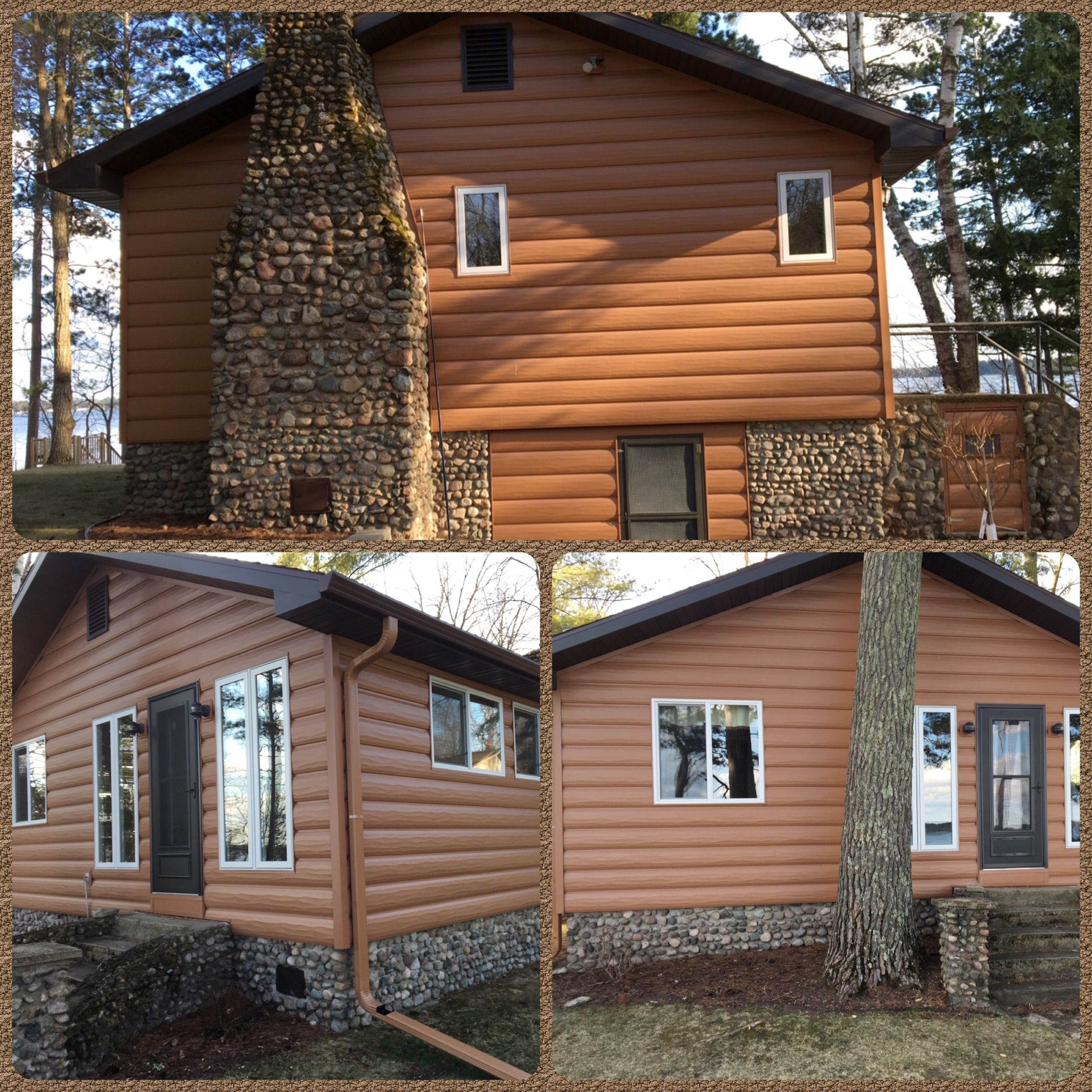 Cedar Steel Log Siding Beautiful Log Cabin In Minnesota Off The Lake Log Siding Mobile Home Siding House Siding