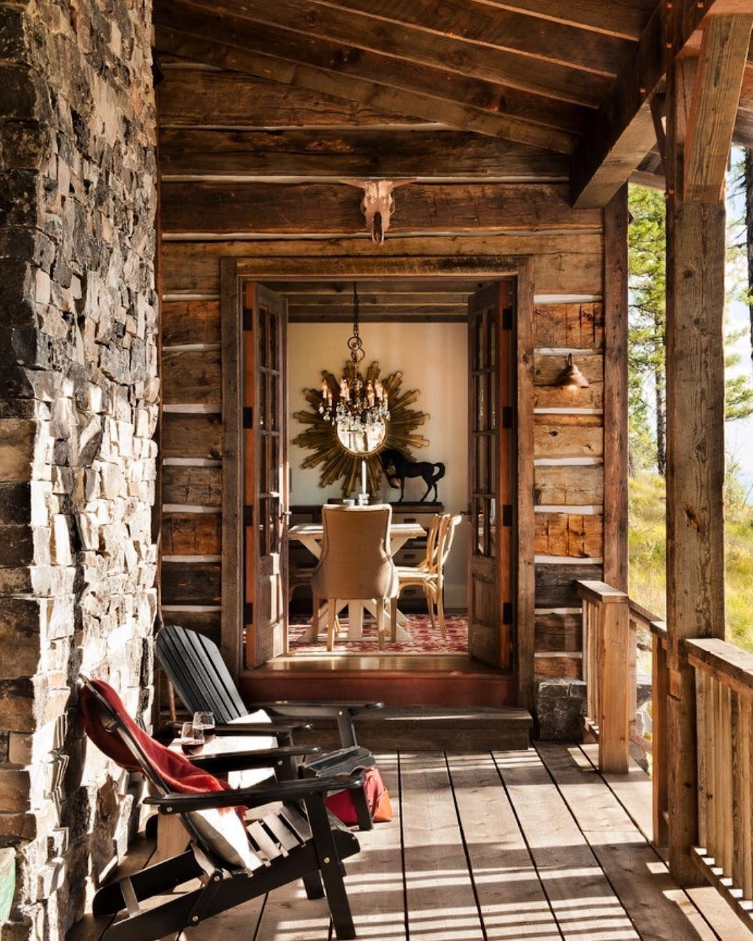 Rustic Elegance | Rustic porch, Rustic house, Rustic cabin