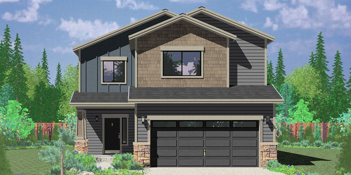 House Front Color Elevation View For 10179 Affordable 2 Story House Plan Has 4 Bedrooms Affordable House Plans Pool House Designs Small Affordable House Plans