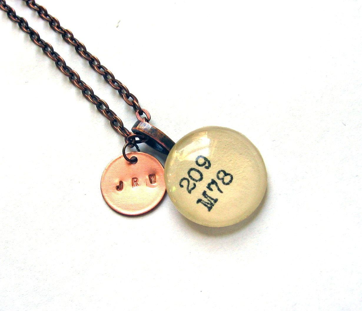 Personalized Monogram Initials Copper Dewey Decimal Vintage Card Catalog Necklace. $28.00, via Etsy.
