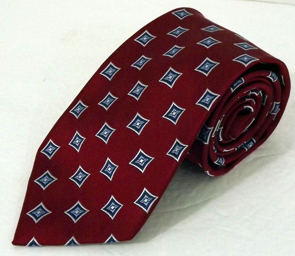 63c834c1676d NWOT Men's Jos. A. Bank Executive Collection Red Blue Silver Geometric Silk  Tie
