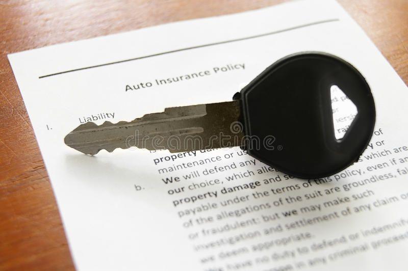 Car ins car key on an auto insurance policy sponsored