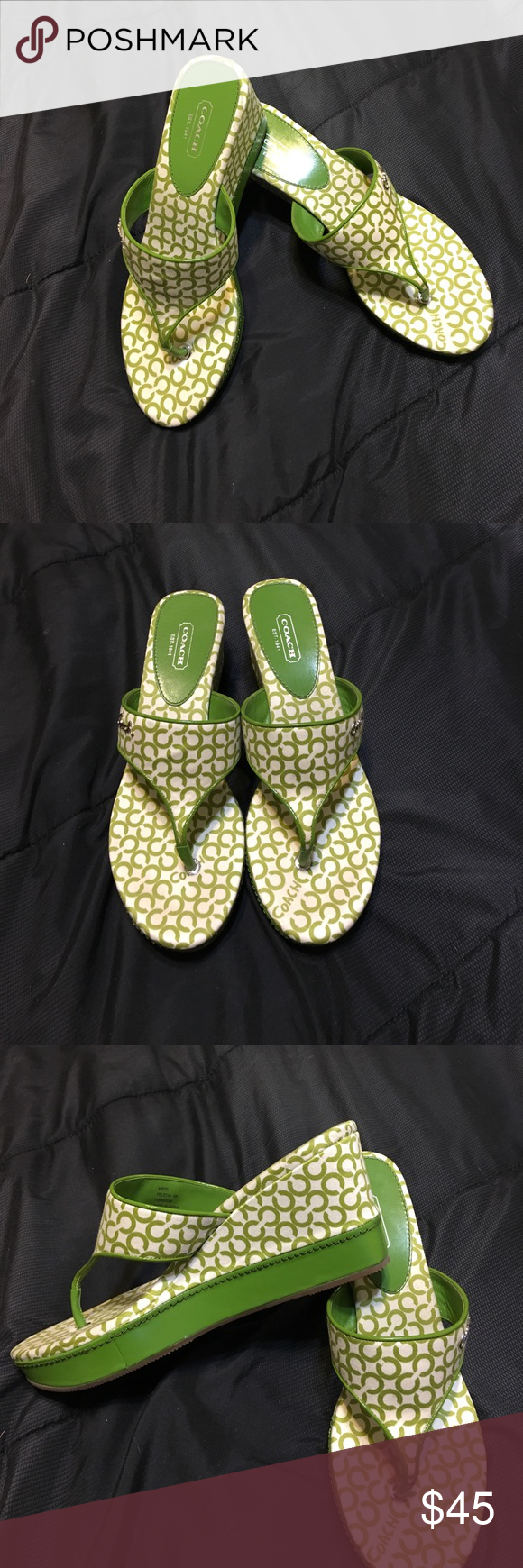 Authentic: Used Coach Sandals Authentic: Used once Coach Sandals. Color ( Green & White )  Pet free and Smoke free home. Please No LowBall Offers 🙂 Coach Shoes Sandals