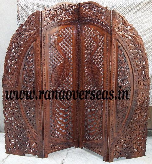 wooden carvings | wooden carved room divider partition screen