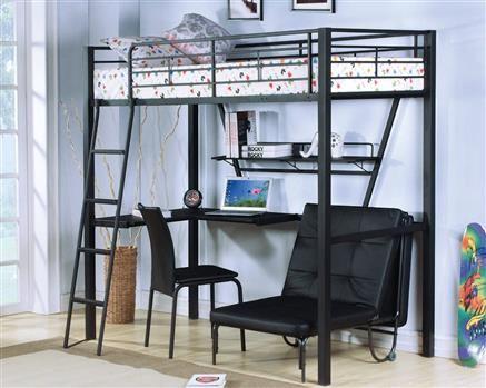 Senon Black Metal Loft Bed Loft Beds Pinterest Bed Bunk Beds