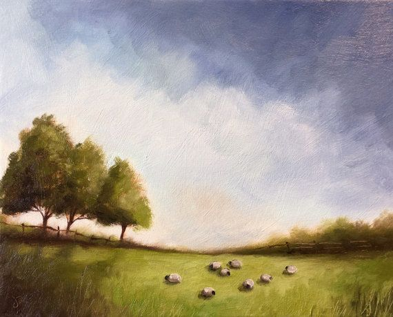 Field of Sheep Original Oil Painting Welsh by JanePalmerArt