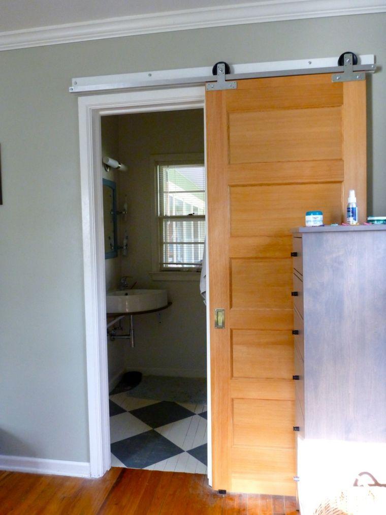 Puertas correderas de madera para el cuarto de ba o - Puerta corrediza para bano ...