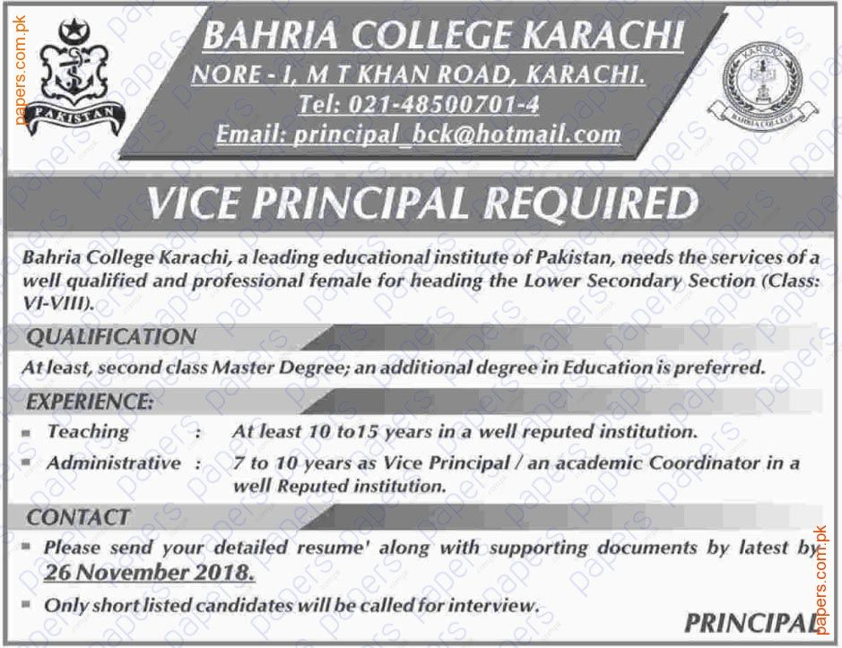 Jobs In Bahria College Karachi Government jobs in