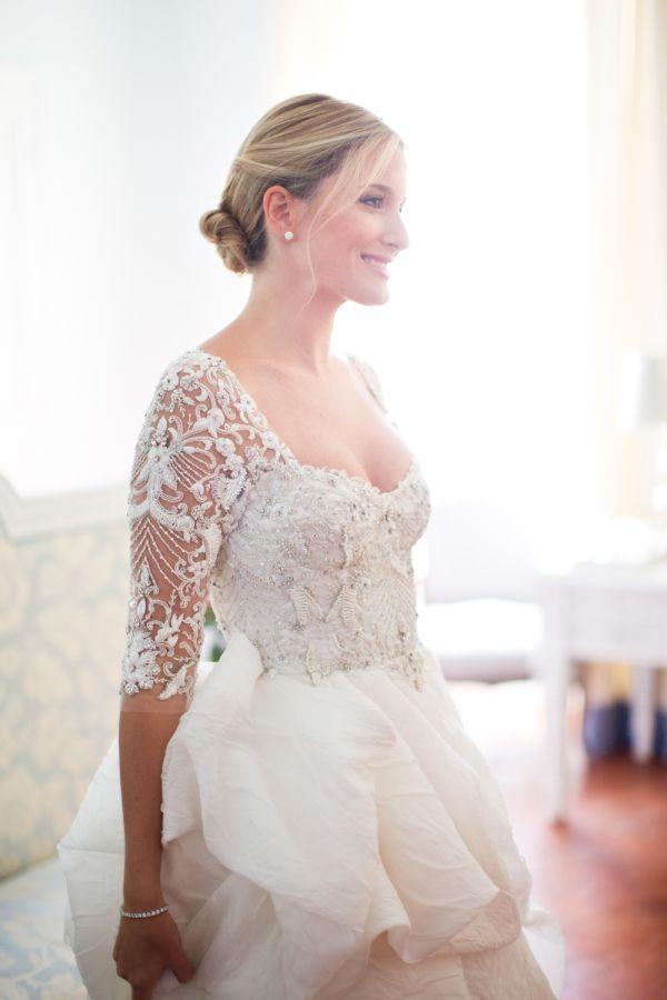 9074842733f Sexy illusion sleeve wedding dress  http   www.stylemepretty.com