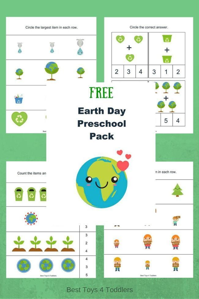 Free Earth Day Printable Pack for Preschoolers Kindergarten Earth